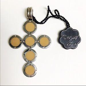 Alan K. Sterling Silver Cross Shaped Pendant